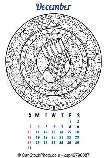 Page., kalender, färbung, winter, dezember, jahr, planer,... Vektor ...