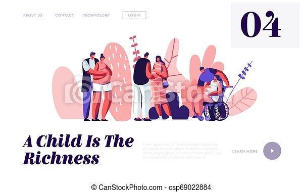 page., pagina, wheelchair., couples, femmina, ragazza, web, family., husbands., maternità, felice, sito web, appartamento, atterraggio, caratteri, bandiera, cartone animato, attesa, invalido, illustrazione, sano, incinta, vettore, baby. - csp69022884