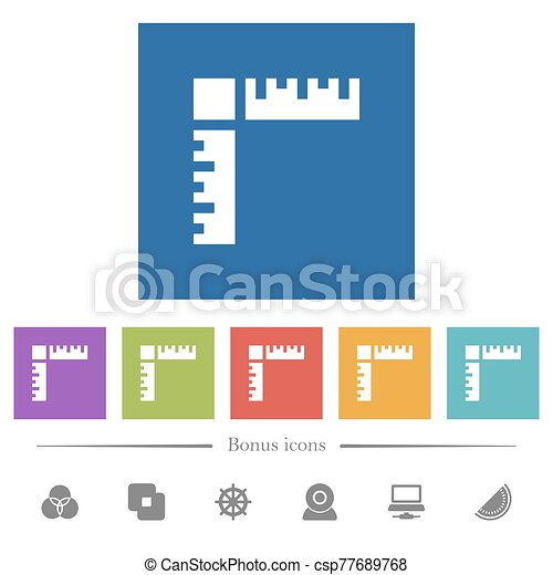 Page rulers flat white icons in square backgrounds - csp77689768
