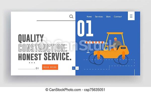 page., sitio web, rodillo, constructor, maquinaria, renovación, pavimentar, aterrizaje, máquina, unidad, pesado, carretera, equipo, asfalto - csp75635051