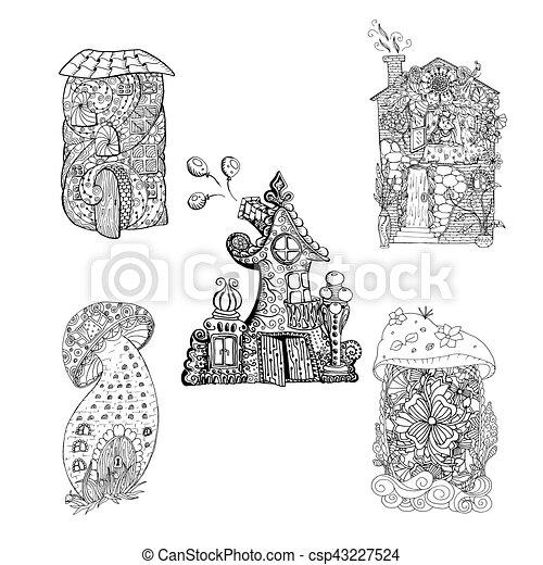 Pages., colorido, ilustración, color, mono, ornamento, vector, casas ...