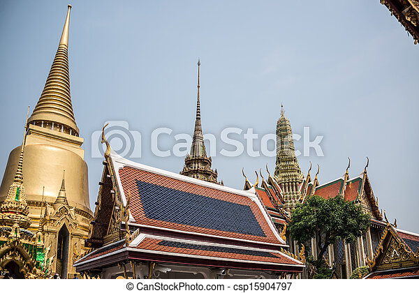 Pagoda at Royal Palce, Bangkok City, Religion, Culture and Tradition, South East Asia, Thailand. - csp15904797