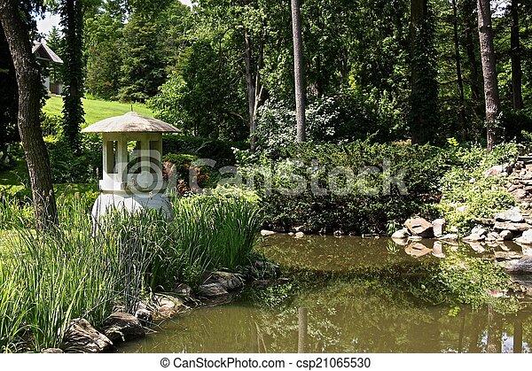 Pagoda in Japanese garden - csp21065530