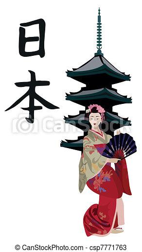 Geisha y pagoda japonesa - csp7771763