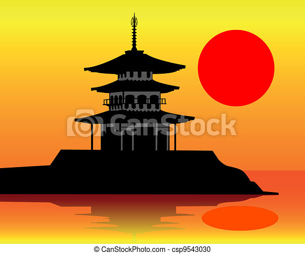 pagode, silhouette - csp9543030