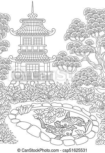 pagode torre japoneses chinês ou esboço coloração chinês