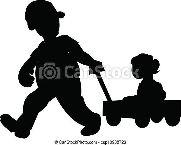 pai, puxando, filha, vagão - csp10988723