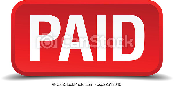 Paid red 3d square button isolated on white - csp22513040