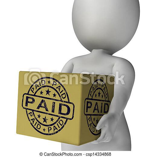 Paid Stamp On Box Showing Invoice Payment Confirmation - csp14334868