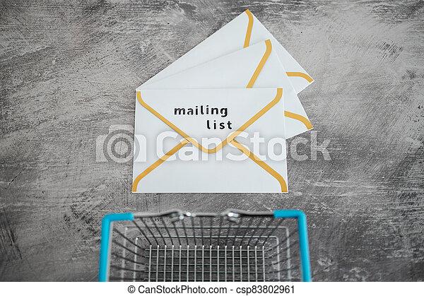 paiement, publipostage, icône, liste, email, achats, concept, commercialisation, cartes, enveloppe, charrette - csp83802961