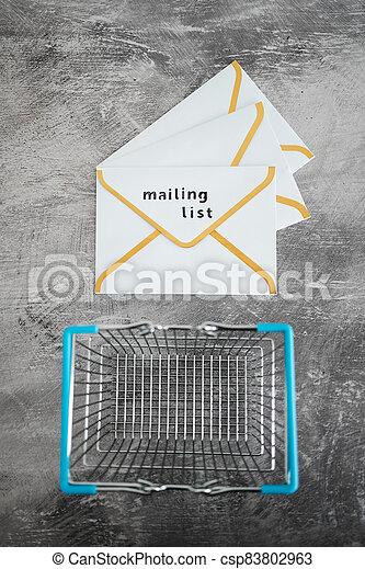 paiement, publipostage, icône, liste, email, achats, concept, commercialisation, cartes, enveloppe, charrette - csp83802963