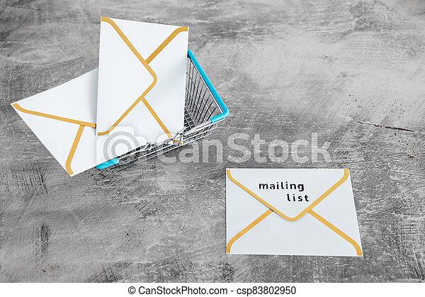 paiement, publipostage, icône, liste, email, achats, concept, commercialisation, cartes, enveloppe, charrette - csp83802950