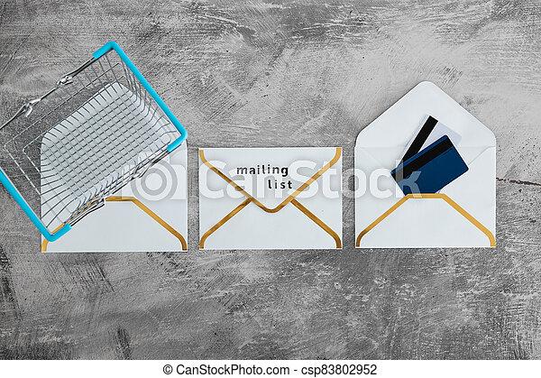 paiement, publipostage, icône, liste, email, achats, concept, enveloppes, commercialisation, cartes, charrette - csp83802952