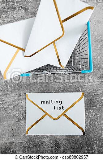 paiement, publipostage, icône, liste, email, achats, concept, commercialisation, cartes, enveloppe, charrette - csp83802957