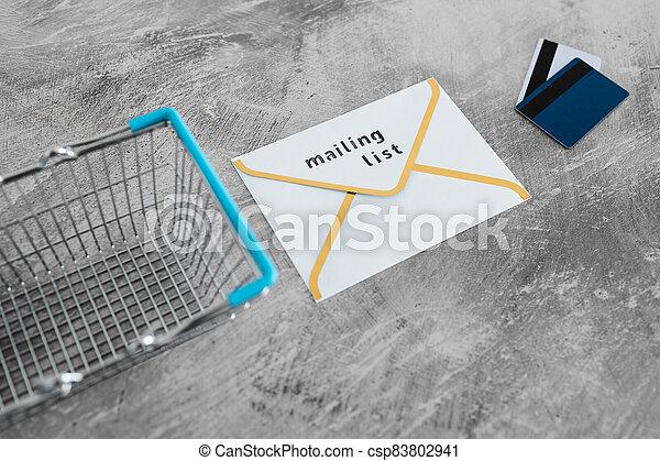 paiement, publipostage, icône, liste, email, achats, concept, commercialisation, cartes, enveloppe, charrette - csp83802941
