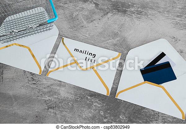 paiement, publipostage, icône, liste, email, achats, concept, enveloppes, commercialisation, cartes, charrette - csp83802949