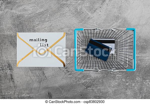 paiement, publipostage, icône, liste, email, achats, concept, commercialisation, cartes, enveloppe, charrette - csp83802930