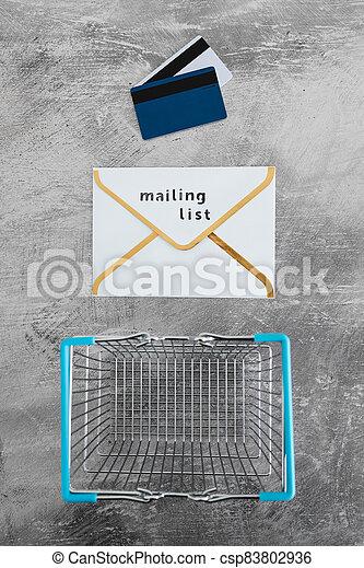 paiement, publipostage, icône, liste, email, achats, concept, commercialisation, cartes, enveloppe, charrette - csp83802936