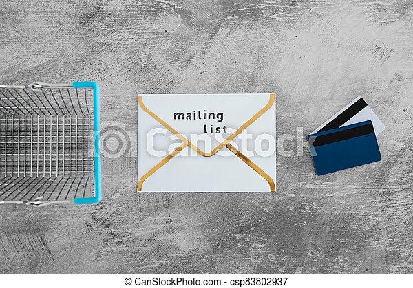 paiement, publipostage, icône, liste, email, achats, concept, commercialisation, cartes, enveloppe, charrette - csp83802937
