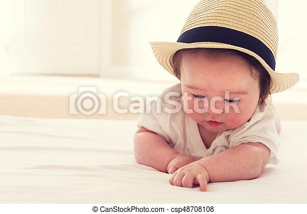 mieux aimé 4d9a7 bc33e paille, garçon, heureux, chapeau, bébé