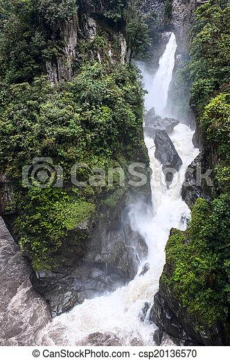 Pailon del Diablo - Mountain river and waterfall in the Andes. Banos. Ecuador - csp20136570