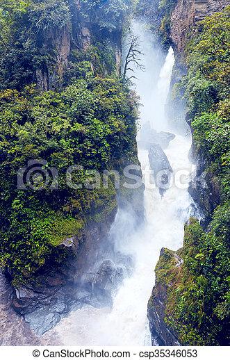 Pailon del Diablo - Mountain river and waterfall in the Andes. Banos. Ecuador - csp35346053