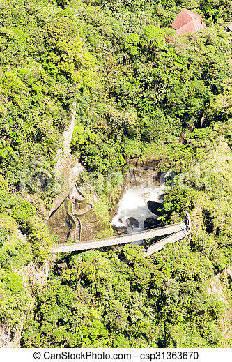 Pailon Del Diablo Waterfall Aerial Shot - csp31363670