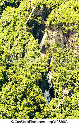 Pailon Del Diablo Waterfall Aerial Shot - csp31363663