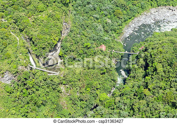 Pailon Del Diablo Waterfall Aerial Shot - csp31363427