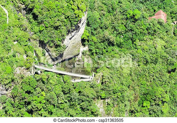 Pailon Del Diablo Waterfall Aerial Shot - csp31363505