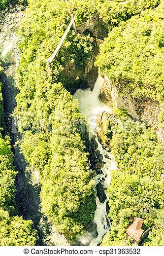 Pailon Del Diablo Waterfall Aerial Shot - csp31363532