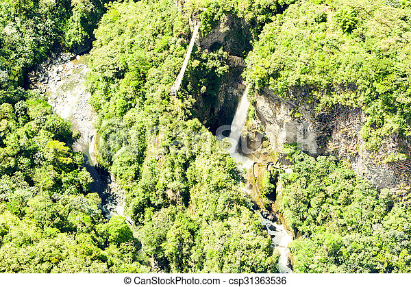 Pailon Del Diablo Waterfall Aerial Shot - csp31363536