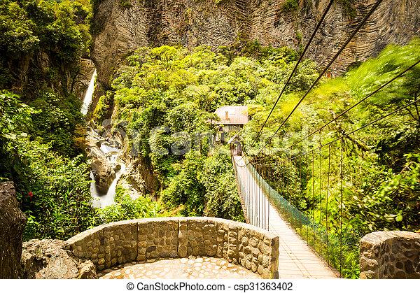Pailon Del Diablo Waterfall Long Exposure - csp31363402