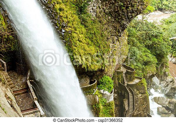 Pailon Del Diablo Waterfall - csp31366352