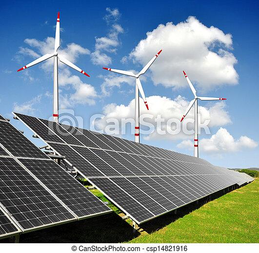 painéis, energia, turbinas, solar, vento - csp14821916