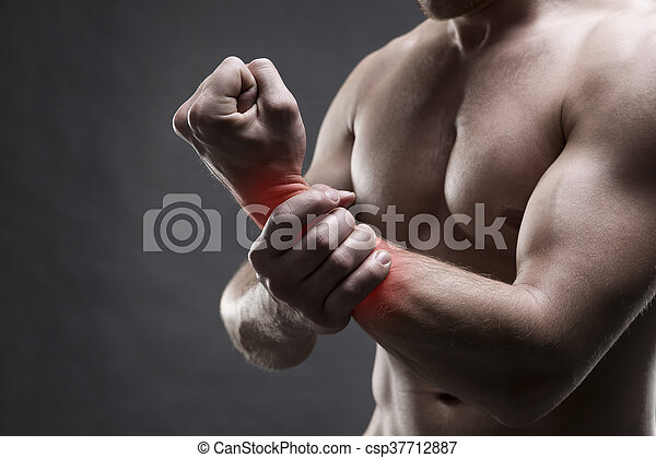 Pain In The Hand Muscular Male Body Handsome Bodybuilder