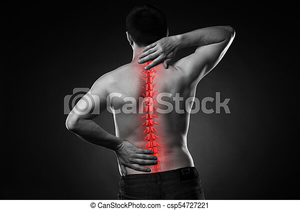 Pain in the spine, a man with backache, injury in the human back and neck - csp54727221