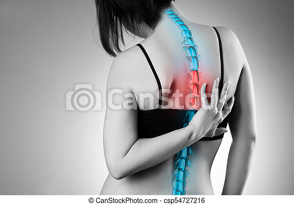 Pain in the spine, woman with backache, injury in the human back - csp54727216
