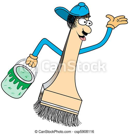 Paint Brush Cartoon Character Paint Brush Cartoon Character With A