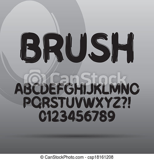 paint brush font and numbers eps 10 vector editable