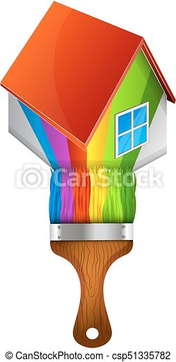 Paint Brush Home With For Painting The House
