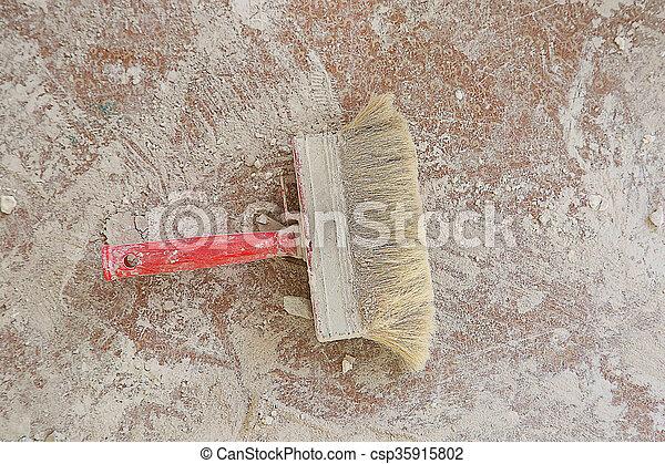 Paint brush on the floor - csp35915802
