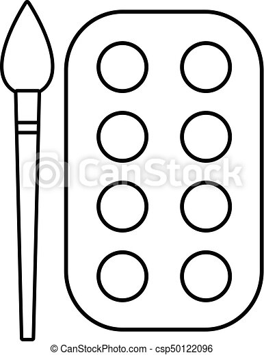 Paint Brush Palette Icon Outline Line Style