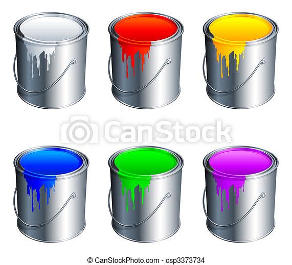 Paint buckets. - csp3373734
