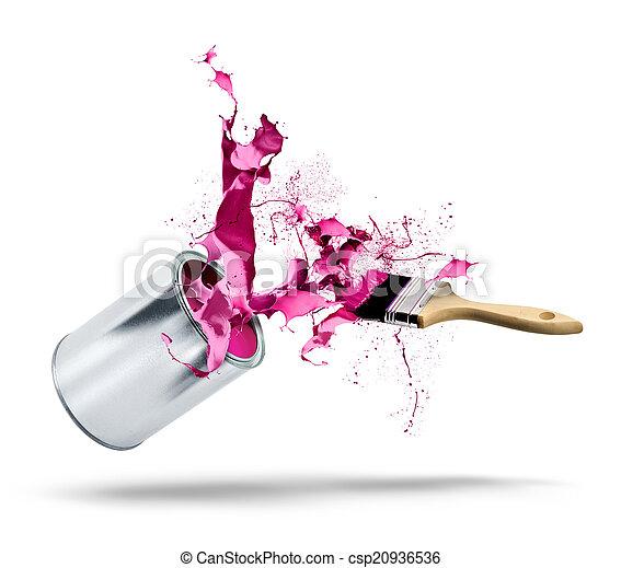 Paint can falls color splash - csp20936536