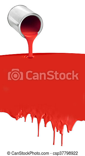 Paint can pouring dripping red on white - csp37798922