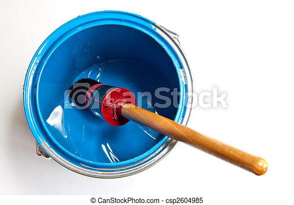 Paint can with brush isolated on white - csp2604985