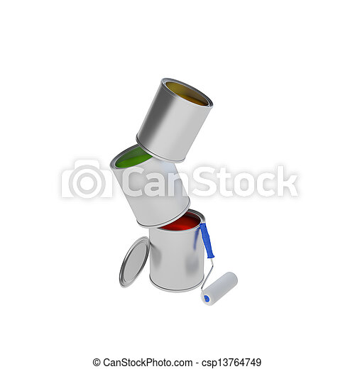 Paint Can with roller brush isolated on white - csp13764749