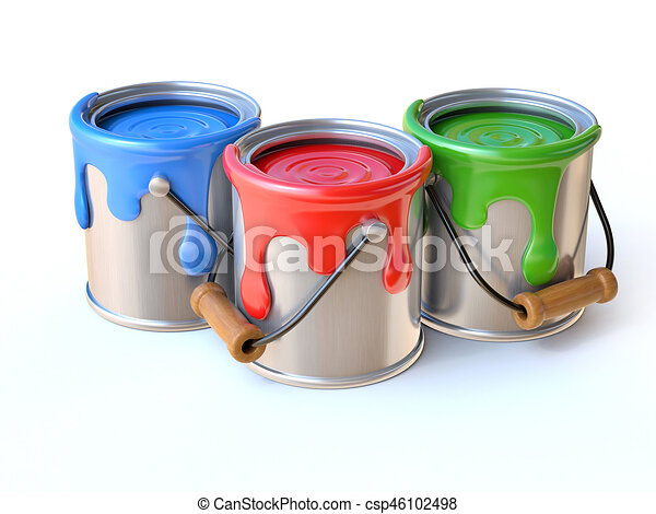 paint cans 3d rendering isolated illustration