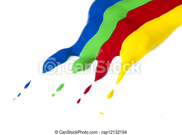 Paint coated on paper. Red, green, blue and yellow colors. - csp12132194